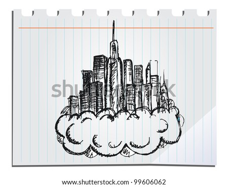hand drawn skyscrapers - stock vector