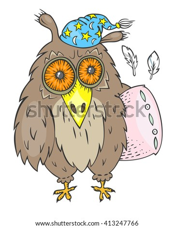 Hand drawn sleepy owl with pink pillow and blue nightcap - stock vector