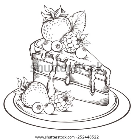 Hand drawn slice of Cake with icing and Berry. Sketch Vector illustration. - stock vector