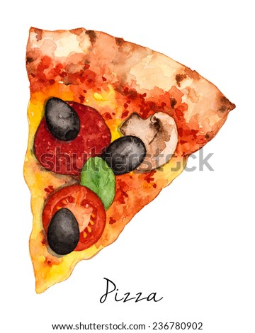 Hand Drawn Slice Of Pizza, Watercolor Sketch,Vector Illustration For Food Design. - stock vector