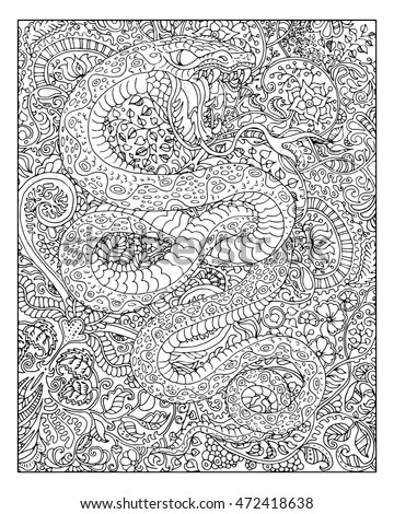 Hand Drawn Snake Against Zen Floral Pattern Background For Adult Coloring Book Chinese New Year