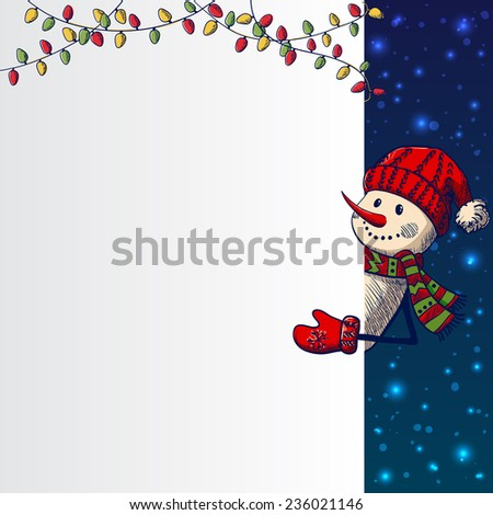 Hand drawn Snowman holding banner. Vector illustration - stock vector