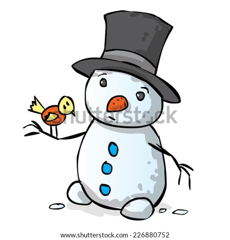 Hand drawn snowman vector cartoon illustration. Holds the bird in his hands