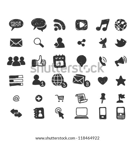 Hand drawn social media icon set - stock vector