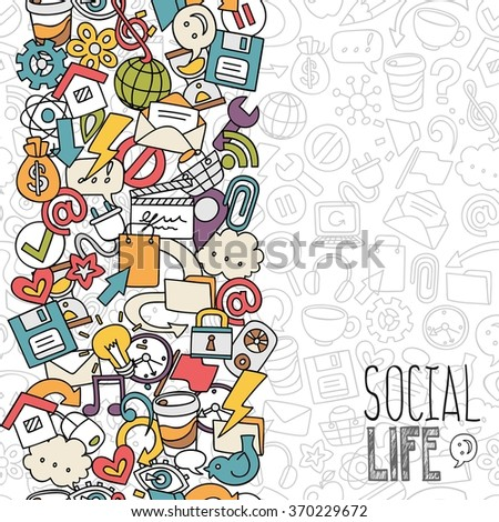 hand drawn social network symbols, vector background - stock vector