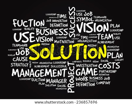 Hand drawn SOLUTION business concept in word tag cloud, vector background - stock vector