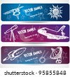 hand-drawn space banners - stock photo