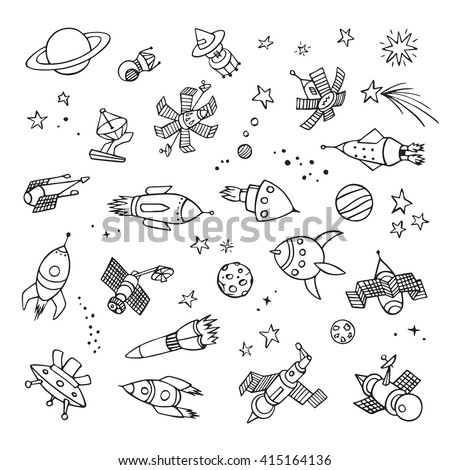 Hand drawn space objects. Doodle icons.