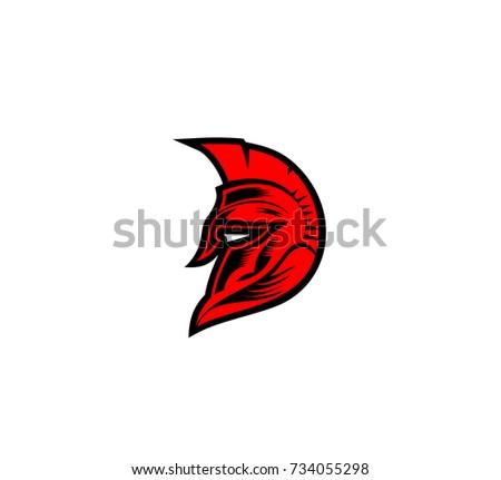 hand drawn spartan helmet warrior roman stock vector 734055298