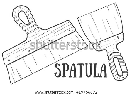 Hand drawn spatula vector sketch. Doodle drawing. Vector sketch house remodel tools. Home repair service. Flat style toola for building