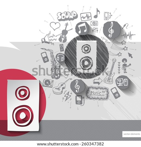 Hand drawn speaker icons with icons background. Vector illustration - stock vector