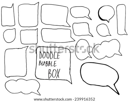 Hand Drawn speech and thought bubble box doodle - stock vector