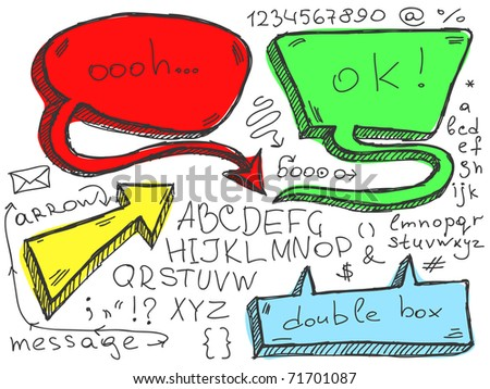 Hand Drawn Speech And Thought Bubble. Visit my portfolio for big collection of doodles - stock vector