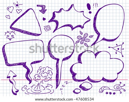 Hand Drawn Speech And Thought Bubbles - stock vector