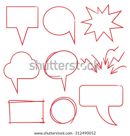 hand drawn speech bubble, cartoon elements