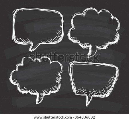 Hand drawn speech bubble doodle on chalkboard background - stock vector