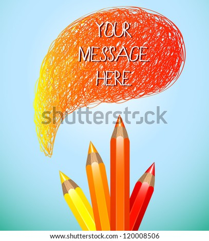 Hand drawn speech bubble with pencils (red)- vector illustration for your business presentations. - stock vector