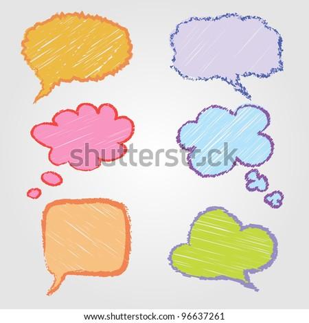 hand drawn speech bubbles - stock vector