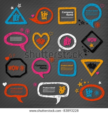 Hand-drawn speech bubbles and frames illustration - stock vector