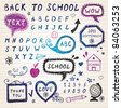 Hand-drawn speech bubbles,Back To School illustration - stock vector