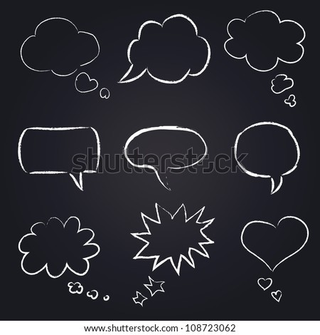hand drawn speech bubbles chalk set on blackboard - stock vector