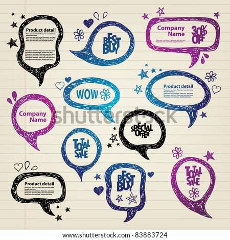 Hand-drawn speech bubbles illustration - stock vector