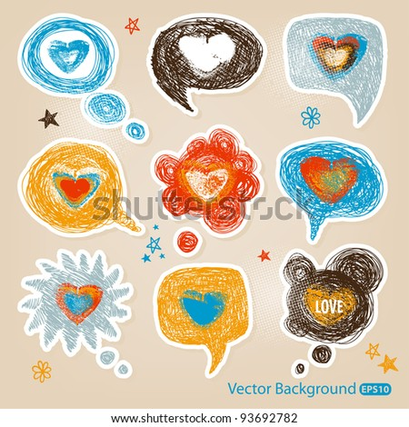 Hand-drawn speech bubbles illustration with the hearts in a middle - stock vector