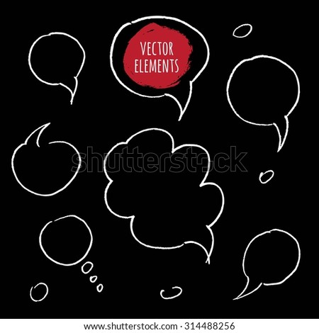 Hand drawn speech bubbles. Vector Collection of Hand Drawn Doodle Style Speech Bubbles.