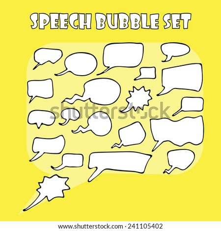 Hand drawn speech bubbles vector set - stock vector