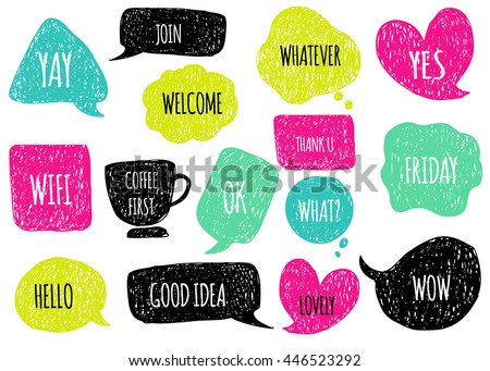 Hand drawn speech  thought bubbles set. Sticker Template for notebooks, scrapbooking, wrapping, cards, poetry notes, diary. Doodle design with short messages. Hello, welcome, good idea, coffee time - stock vector
