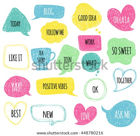 Hand drawn speech thought bubbles set. Sticker Template for notebooks, scrapbooking, wrapping, cards, poetry notes, diary. Doodle design with short messages. So sweet, positive vibes, good idea, love - stock vector