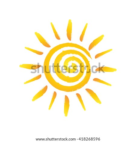 Hand drawn spiral shinny sun. Vector graphic illustration - stock vector
