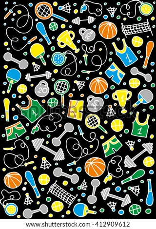 Hand drawn sport doodle set - stock vector