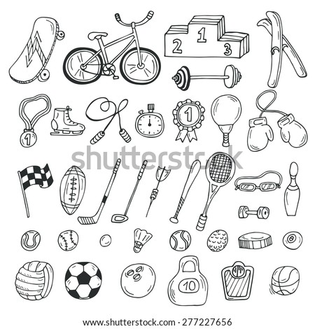 Hand drawn sport icon set. Fitness and sport. Vector illustration - stock vector