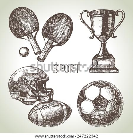 Hand drawn sports set. Sketch sport balls. Vector illustration - stock vector