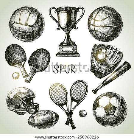 Hand drawn sports set. Sketch sport balls. Vector illustration - stock vector