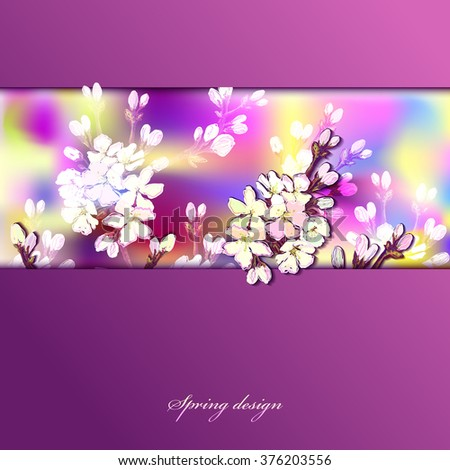 Hand drawn spring bloom background. Spring horizontal border design with realistic blossom cherry tree branches and text spring design. Spring watercolor style purple background. Vector illustration - stock vector