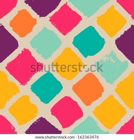 Hand-drawn square seamless pattern - stock vector
