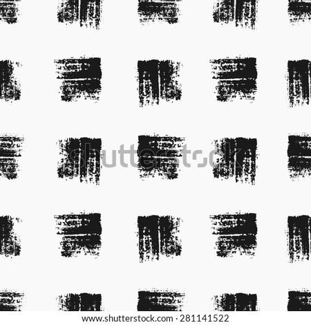 Hand drawn square shapes seamless pattern. Monochrome dry brush strokes paint texture. - stock vector