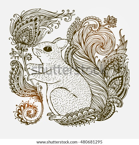 Hand Drawn Squirrel With Ethnic Ornaments Floral Doodle Pattern Vector Illustration Henna Mandala Zentangle