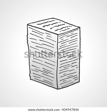 Hand drawn stack of paper - stock vector