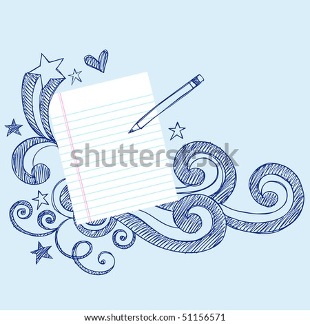 Hand-Drawn Stars and Swirls Sketchy Notebook Doodles surrounding a piece of Lined Sketchbook Paper with a Pencil- Vector Illustration - stock vector