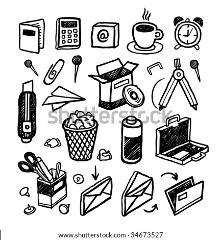 Hand-drawn stationery icons. Vector illustration.