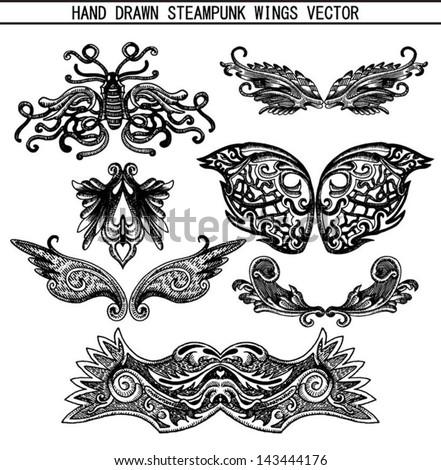 Hand drawn steam-punk vector set - stock vector