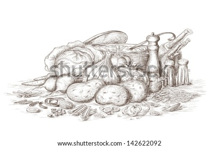 Hand drawn still life of soup ingredients. - stock vector