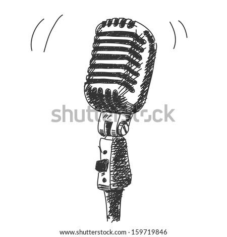 Hand drawn studio microphone - stock vector