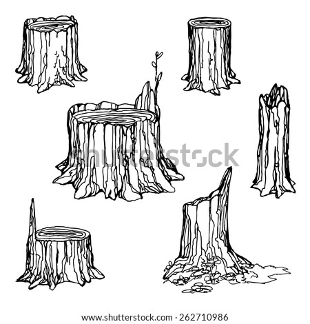 How to draw cartoon tree stump for kids » Easy-To-Draw.com