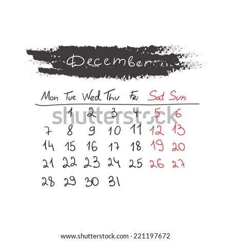 Hand drawn style calendar December 2015. Vector illustration - stock vector