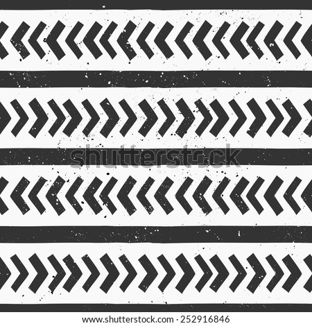 Hand drawn style chevron and lines seamless pattern. Abstract geometric repeat pattern in black and white. - stock vector