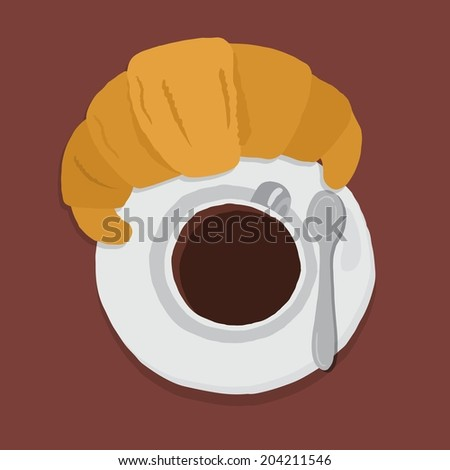 Hand drawn style croissant an cup of coffee - stock vector